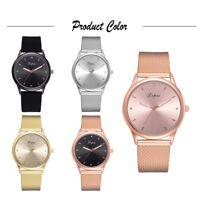 LVPAI Woman Fashion Quartz Watch Round Dial Mesh Strap Ladies Analog Wristwatch