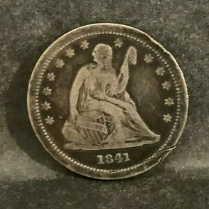 1841-O Seated Liberty Quarter 25C Silver Coin, VG-F Condition