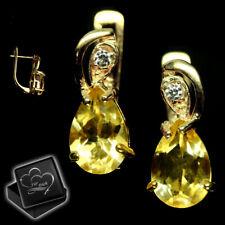 Echter gelber Citrin Creolen 925er Silber Gold für Damen Frauen Ohrringe M26
