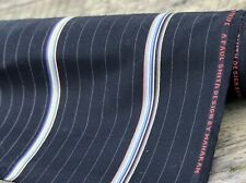 MAHARAM BESPOKEN STRIPE by Paul Smith 100% Wool Black Pinstripe Fabric | By Yard