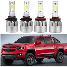 4x Combo COB LED Headlight Kit Hi Low Beam Bulbs 6K For Chevrolet Colorado 13-18