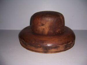 ANTIQUE MILLINERY WOOD HAT BLOCK MOLD BRIM FORM 5 7/8, 6 7/8
