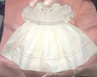 VINTAGE MICHAEL DE LEON (Med) 6 month white smocked embroidered baby doll Dress
