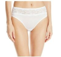 Bali Women's One Smooth U Comfort Indulgence Satin with Lace Hi-Cut White XL 8
