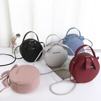 Women Bag Simple Design Messenger Bag Circular Handbag PU Leather Crossbody Bafe
