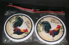 "4 ~ STOVE TOP BURNER COVERS,RISE AND SHINE ROOSTER  (2 big 10""2 small 8"")"