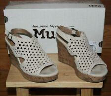 Women's MUDD Festival Platform Cork Wedge Sandal Shoes Natural Beige Sz 7
