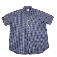 Brooks Brothers 346 Mens Large Blue Plaid Short Sleeve Button Down Shirt