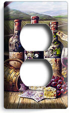 Vintage Winery Wine Cellar Bottles Cheese Grapes Outlet Wall Plate Kitchen Decor