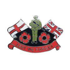 POPPY BADGE WITH ENGLAND FLAG AND UNION JACK - Remembrance Sunday, UK Seller