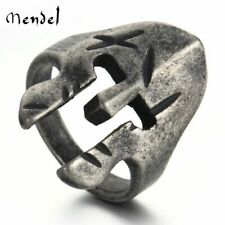 MENDEL Vintage Mens Gladiator Warrior Helmet Spartan Ring Stainless Steel Silver
