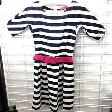 Betsey Johnson Navy White Stripe Pink Belt 3/4 Sleeve Dress Sz 6