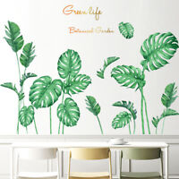 BE_ Green Tropical Plant Leaf Home Wall Sticker Living Room Decal DIY Decor Myst
