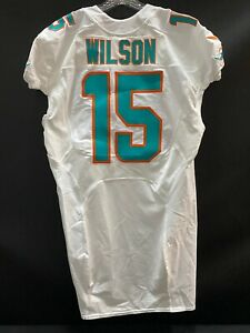 """#15 ALBERT WILSON MIAMI DOLPHINS TEAM ISSUED WHITE """"SAMPLE"""" JERSEY SIZE 50"""