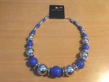Dorothy Perkins Ladies Blue / Silver Chunky Circular Cluster Fashion Necklace