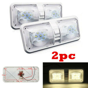 2x White 500LM 48LED 12V Double Dome Light Ceiling Fixture Camper Trailer