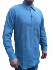 2 pack Genuine Grandad Shirts Blue. Swedish Army Issue Button Front Long Shirt