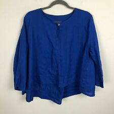 Richard Malcolm Cardigan Size L 3/4 Sleeves Linen Blue One Button Closure Top
