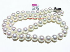 """Collectibles Top quality 17""""9-10mm round REAL south sea WHITE pearl necklace 14K"""