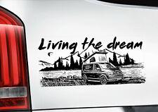 Living the Dream Window Sticker - VW Transporter Camper Van Volkswagen V02B-BLK