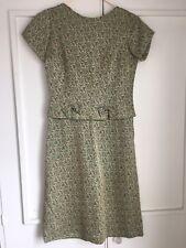 Vintage 60s Romney Model Green Gold Brocade Peplum Dress, 38, Great Condition!