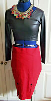 STEAMPUNK/goth/BOHO/PUNK red stretchy pencil SKIRT,SIZE12,Voodoo Vixen.size 10