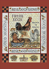 REPRINT PICTURE of older print RISE AND SHINE CHICKENS fresh eggs brn & wht 5x7