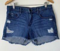 Nobody Blue Denim Shorts Size 29 Frayed Hem Distressed Mid Rise