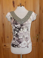 KOOKAI olive green khaki brown stretch tie-dye tunic top short sleeve 1 8 10