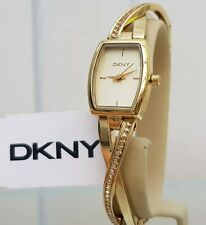 DKNY Ladies Designer Watch Gold Crystal Twisted bracelet RRP £169 (552)