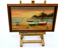 Vintage Original Oil Painting On Board Boats On Shore Beach Sunrise Sunset