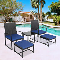 5PCS Outdoor Wicker Cushioned Chair and Ottoman Set with Tea Table Dark Blue