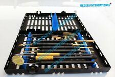 9 Pcs Dental Micro Surgery Instruments With Cassette Black Titanium Coated Kit