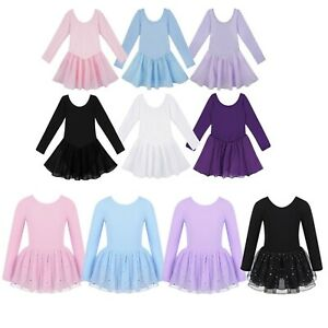Lovely Girls Dance Leotards Kids Long Sleeves Dress Shiny Mesh Ballet Dancewears