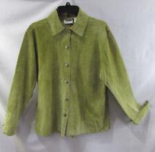 Chico's Design Leather Jacket Blazer Green Size 2 (12) Buttondown Long sleeve