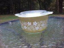 Pyrex Crazy Daisy Spring Blossom 1Qt Casserole Dish & Lid Vtg 70s Libbey Corelle