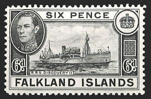 Falkland Islands Stamp 1938-50 6d King George VI Scott # 102 SG156 MINT OG H