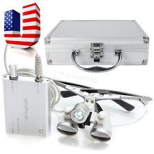 Dental Surgical Medical Binocular Loupes 3.5x 420 Head Light Aluminum Metal Case