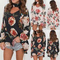 Women's Plus Size V Neck Floral T-Shirt Ladies Loose Tops Loose Casual BlousesLJ