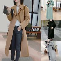 Women Wool Blend Coat Long Sleeve Turn-Down Collar Warm Autumn Coat Slim Jackets