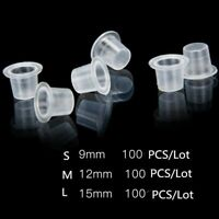 100Pcs Plastic Microblading Tattoo Ink Cup Cap Pigment Clear Holder Container