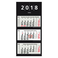 Herlitz 3-Monatskalender 2018 schwarz , Dreimonatskalender Größe 33 x 70 cm