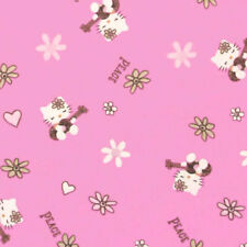 "DAVID TEXTILES ""HELLO KITTY"" PEACE & GUITARS Hot Pink by the yard"