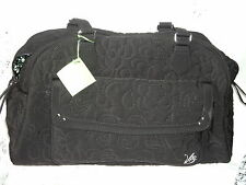Vera Bradley Black Microfiber Bowler Baby Bag Zip Around Closure $96