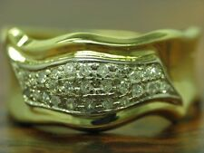 18kt 750 Bicolour Gold Ring with 0,27ct Diamond Decorations/6,5g/ Rg 62