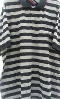 ESPIONAGE Schwarz/Graue Streifen Polohemd King-Size 2XL 3XL 4XL 5XL