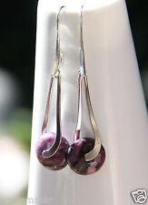 Purple Jasper Hand-carved gemstone Earrings elegant hooks Handmade New