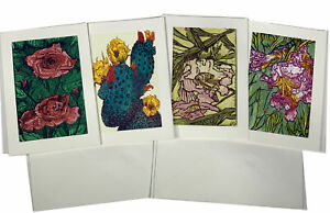 4 ART CARD SET Roses Desert Willow Cactus Flowers Bright Color Pink Green Yellow