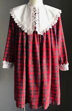 Vintage Red Tartan ELIZABETH ANNE Smock Dress w Decorative Collar Size 6