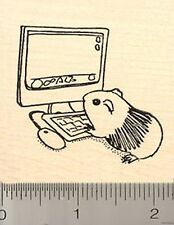 Guinea pig using computer Rubber Stamp Wood Mount H8220